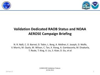 Validation Dedicated RAOB  Status and NOAA AEROSE Campaign Briefing