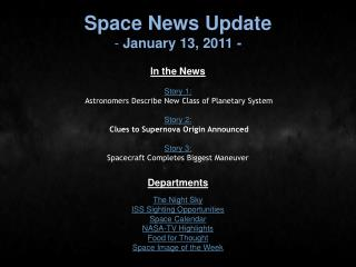 Space News Update  January 13, 2011 -