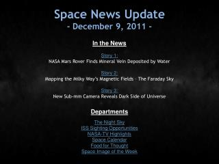 Space News Update - December 9, 2011 -