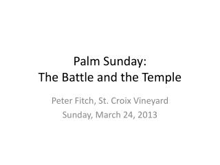 Palm Sunday:  The Battle and the Temple