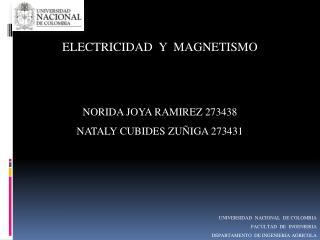 ELECTRICIDAD  Y  MAGNETISMO NORIDA JOYA RAMIREZ 273438 NATALY CUBIDES ZUÑIGA 273431