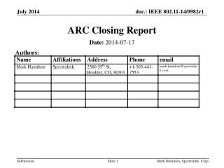 ARC Closing Report