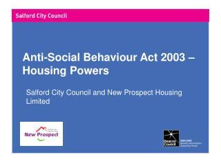 Anti-Social Behaviour Act 2003 – Housing Powers