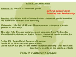 Africa Unit Overview Monday 1/5:   Murals – Classwork grade	 Get out papers from
