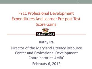 FY11 Professional Development Expenditures And Learner Pre-post Test Score Gains