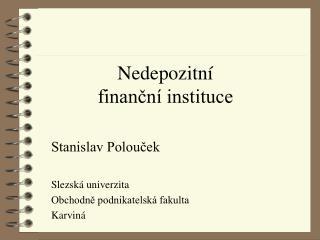 Nedepozitní finanční instituce