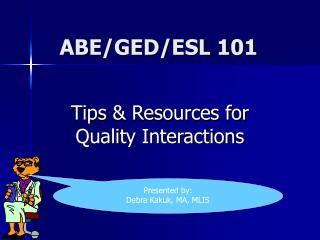 ABE/GED/ESL 101