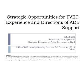 Strategic Opportunities for TVET: Experience and Directions of ADB Support