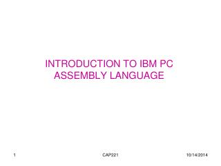 INTRODUCTION TO IBM PC ASSEMBLY LANGUAGE