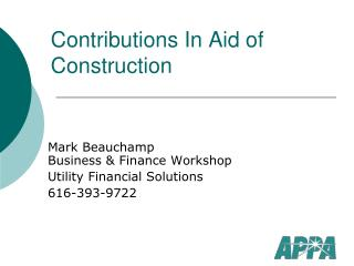 Contributions In Aid of Construction