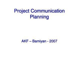 Project Communication Planning