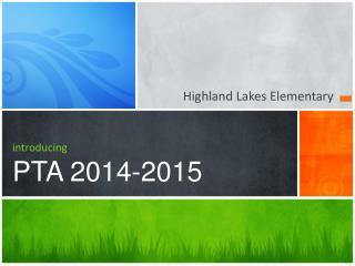 introducing PTA 2014-2015