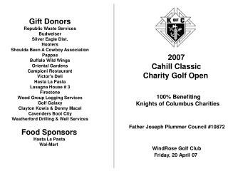 2007 Cahill Classic Charity Golf Open