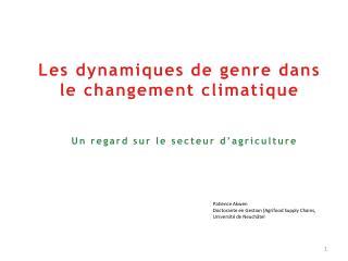 Les  dynamiques de genre dans le changement climatique