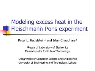 Modeling excess heat in the Fleischmann-Pons experiment