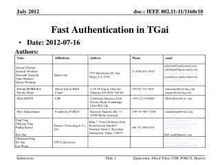 Fast Authentication  in  TGai