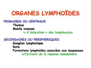 ORGANES LYMPHO�DES