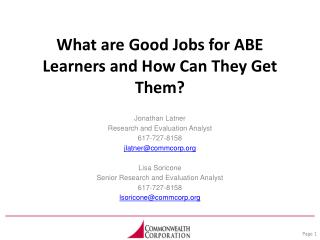 What are Good Jobs for ABE Learners and How Can They Get Them?