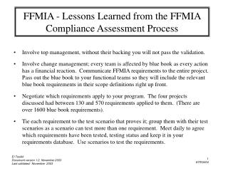 FFMIA - Lessons Learned from the FFMIA Compliance Assessment Process