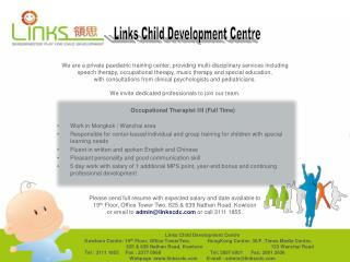 We are a private paediatric training center, providing multi-disciplinary services including