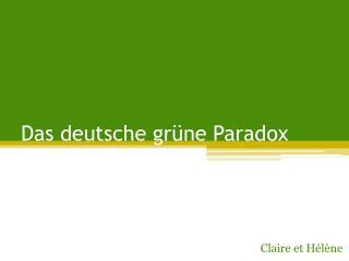 Das  deutsche  grüne Paradox