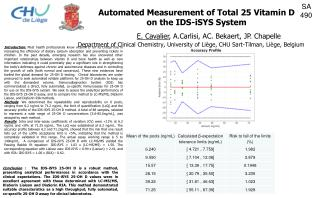 Automated Measurement of Total 25 Vitamin D on the IDS-iSYS System