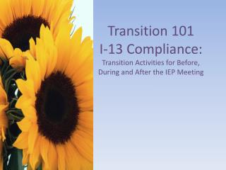 Transition 101 I-13 Compliance: Transition Activities for Before, During and After the IEP Meeting