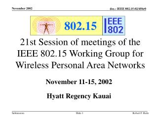21st Session of meetings of the IEEE 802.15 Working Group for Wireless Personal Area Networks
