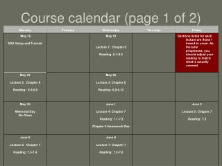 Course calendar (page 1 of 2)