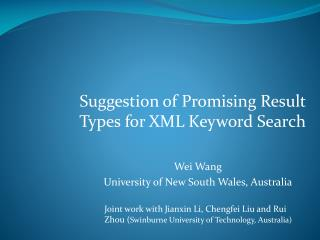Suggestion of Promising Result Types for XML Keyword Search