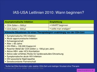 IAS-USA Leitlinien 2010: Wann beginnen?