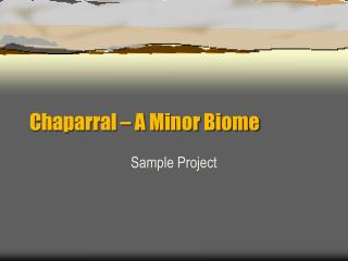 Chaparral – A Minor Biome