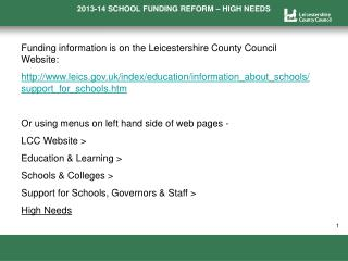 Funding information is on the Leicestershire County Council Website: