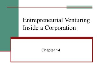 Entrepreneurial Venturing Inside a Corporation