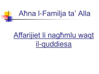 Aħna l-Familja ta' Alla
