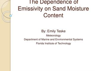 The Dependence of Emissivity on Sand Moisture Content