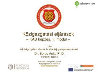 Dr. Boros Anita PhD.  egyetemi docens Nemzeti Közszolgálati Egyetem  Közigazgatás-tudományi Kar