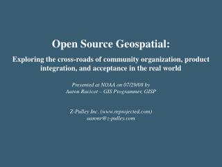Open Source Geospatial: