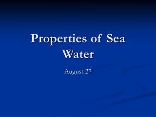 Properties of Sea Water
