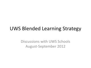 UWS Blended Learning Strategy