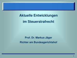 Aktuelle Entwicklungen  im Steuerstrafrecht Prof. Dr. Markus Jäger  Richter am Bundesgerichtshof