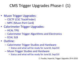 CMS Trigger Upgrades Phase-I  (1)
