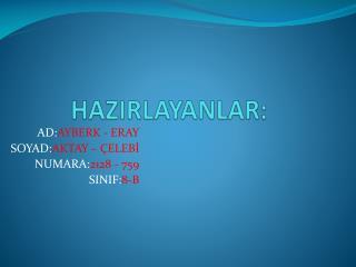 HAZIRLAYANLAR: