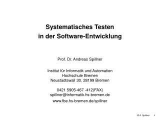 Systematisches Testen in der Software-Entwicklung