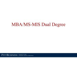 MBA/MS-MIS Dual Degree