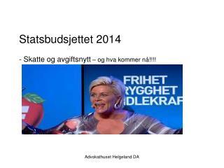 Statsbudsjettet 2014 - Skatte og avgiftsnytt  – og hva kommer nå!!!!