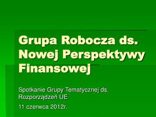 Grupa Robocza ds. Nowej Perspektywy Finansowej