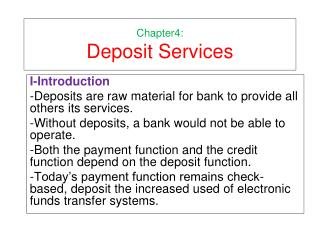 Chapter4: Deposit Services
