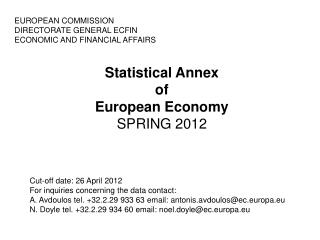 Statistical Annex of European Economy SPRING 2012