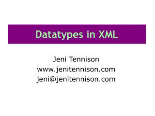 Datatypes in XML